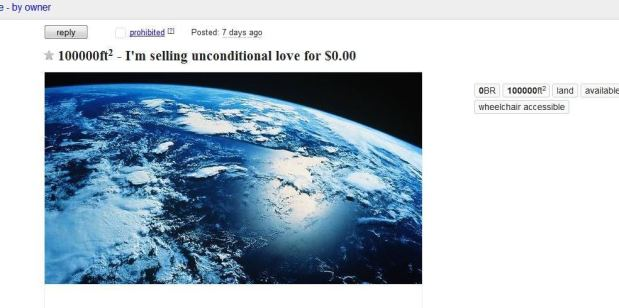 Man Sells Unconditional Love on Craigslist for $0